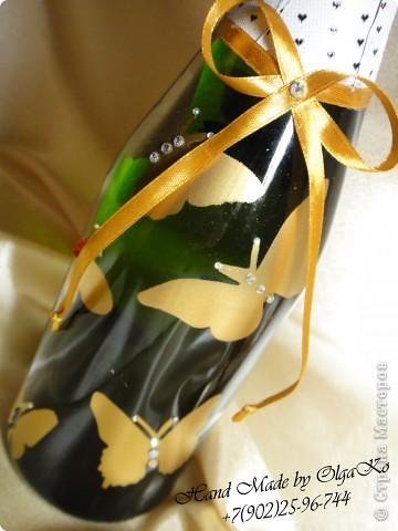 """Задумка этой бутылочки как """"Свадебная"""", оформлена с помощью техники декупаж. Сверху декорирована микробисером.  фото 6"""