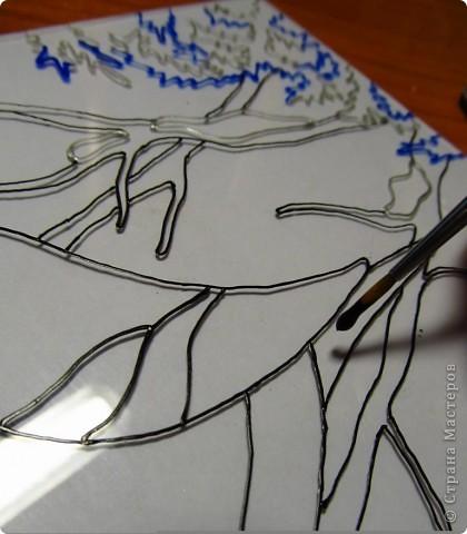 Вот такое панно мы сегодня будем делать! Хочу сразу сказать, что если Вы никогда раньше не работали с красками по стеклу, то сразу сделать красивую работу не получится. Желательно потренироваться на бросовом куске стекла,т.к. наносить краску и контур ровно нужно наловчиться. фото 7