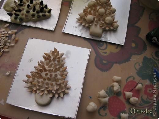Налепили с сыном ёлочки из солёного теста и семян дыни (можно использовать простые чёрные семечки от подсолнушка, результат хуже не будет) фото 11