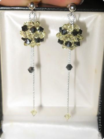 серёжки из кристалов Сваровского с серебром фото 1