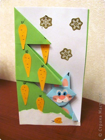 """15 декабря в нашей школе будет проходить семинар, где я должна буду показать МК на тему """"Изготовление открытки с элементами оригами"""".  Вот такую открыточку я изобрела. фото 1"""