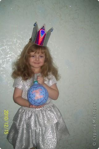 такой шарик я сделала дочке в садик к новому году из соленого теста фото 2