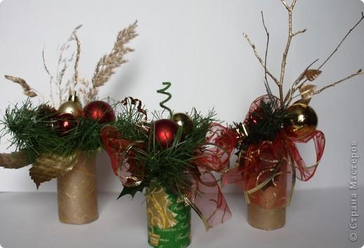 Вот такие мини букеты изготовила в подарок к Новому году. фото 1