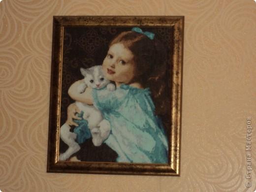Страна мастеров. Автор. Девочка с котёнком Вышивка. карина