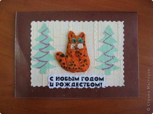 Первая проба лепки из солёного теста. К году кота (кролика) сделали такие новогодние открыточки. фото 2