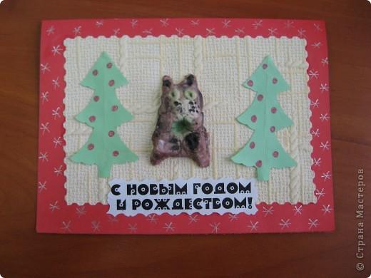 Первая проба лепки из солёного теста. К году кота (кролика) сделали такие новогодние открыточки. фото 3