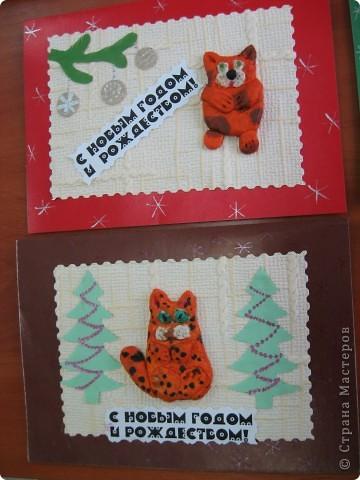 Первая проба лепки из солёного теста. К году кота (кролика) сделали такие новогодние открыточки. фото 8