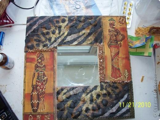 Вот такое зеркало у меня получилось в африканской тематике  фото 1