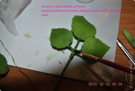 МК по лепке розы. Часть3-веточки. фото 10