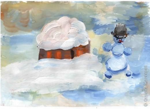 Открытка от Ульяши Фёдоровой (7л). Это НовоКот- Ангел, ещё и волшебник, прилетел в снежную ночь к зайчику поздравить с Новым годом. фото 4