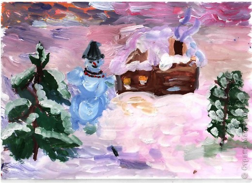 Открытка от Ульяши Фёдоровой (7л). Это НовоКот- Ангел, ещё и волшебник, прилетел в снежную ночь к зайчику поздравить с Новым годом. фото 5