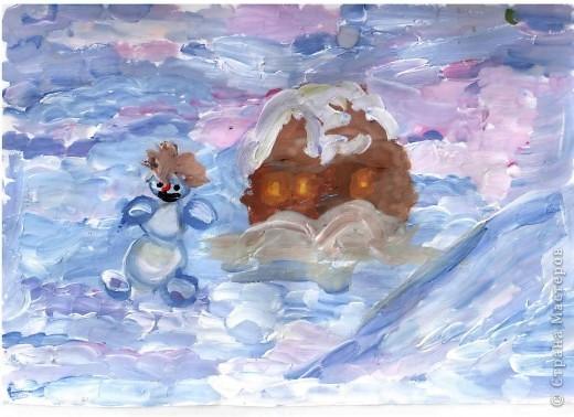 Открытка от Ульяши Фёдоровой (7л). Это НовоКот- Ангел, ещё и волшебник, прилетел в снежную ночь к зайчику поздравить с Новым годом. фото 3