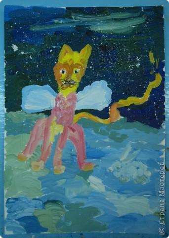 Открытка от Ульяши Фёдоровой (7л). Это НовоКот- Ангел, ещё и волшебник, прилетел в снежную ночь к зайчику поздравить с Новым годом. фото 1