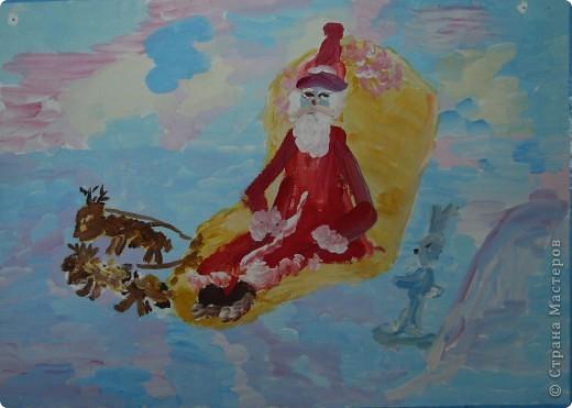 Открытка от Ульяши Фёдоровой (7л). Это НовоКот- Ангел, ещё и волшебник, прилетел в снежную ночь к зайчику поздравить с Новым годом. фото 2