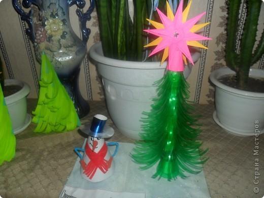 Новогодняя композиция: Снеговичок-колпачок и Ёлочка-иголочка
