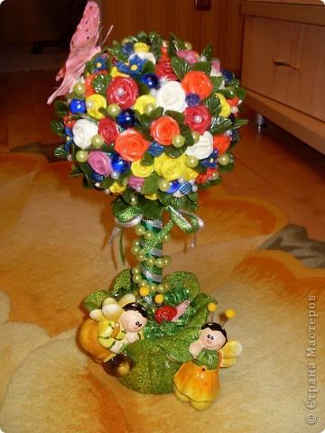 Подарок к Новому году из холодного фарфора. дерево счастья. Кашпо готовое, все остальное лепила. фото 1