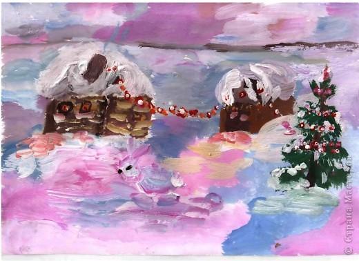 Открытка от Ульяши Фёдоровой (7л). Это НовоКот- Ангел, ещё и волшебник, прилетел в снежную ночь к зайчику поздравить с Новым годом. фото 6