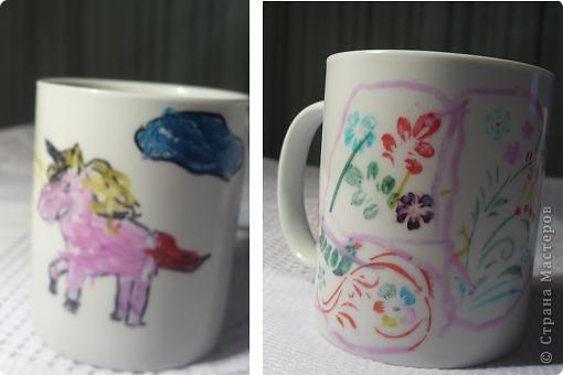Попробовала со своими девчонками разрисовать кружки. Левая -- работа Аня (5 лет), правая -- Лизы (6 лет). Поскольку разрисовывали они всю доступную для этого поверхность, а охватить все это фотоаппаратом невозможно, то ниже помещаю другие фрагменты росписи фото 1