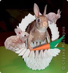 Вот такая кроличья корзинка получилась в итоге. Корзиночку делала по схеме из книги 3D оригами, а схема зайца есть практически на каждом сайте по поделкам из бумаги. фото 1