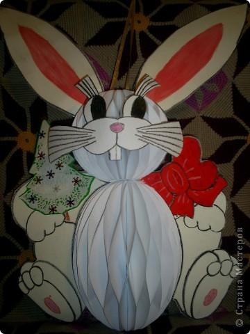 Вот такого зайца мы с ребенком сотворили для конкурса новогодней игрушки в школе. фото 1