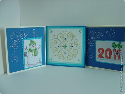 KAPA17.  Мои новогодние открытки повторюшки.  Поделиться ссылочкой.  Событие.  Материал.  Открытка.  Нитки.