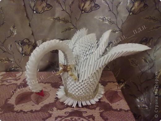 Лебедь (модульное оригами) фото 3