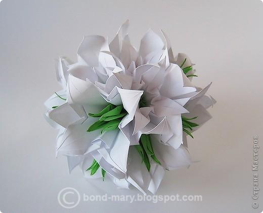 Кусудама Оригами Белые лилии