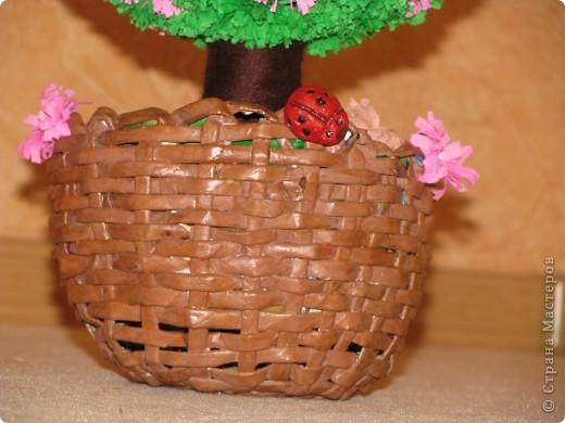Только сейчас закончила мое второе дерево и спешу похвастаться!!!! подарочек для моей сестренки!!!! дерево из гофрированной бумаги...каркас из ниток на клею ( надула воздушный шарик и обмотала его нитками с клеем.....высушила....шарик внутри лопнула.) фото 4