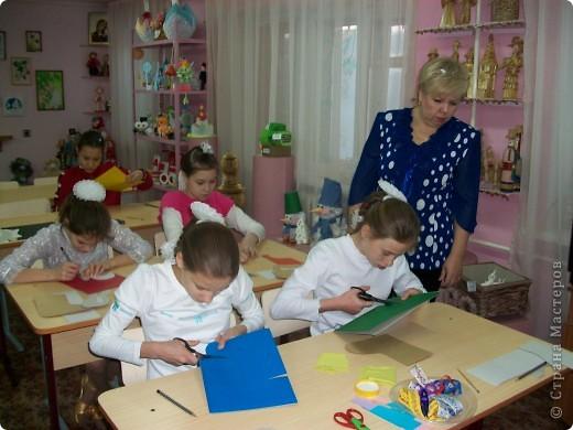 Сегодня провела открытый урок, по изготовлению Новогодней открытки, с девчонками 5-го класса. фото 1