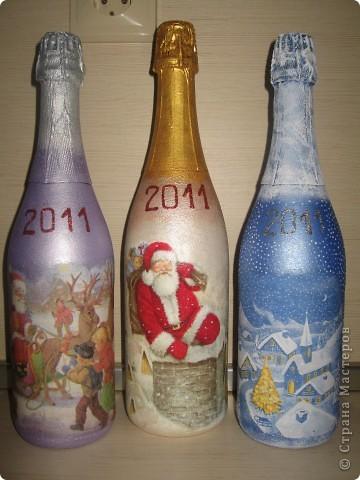 """Декупаж - Бутылочки Новогодние """" Поиск мастер классов, поделок своими руками и рукоделия на SearchMasterclass.Net"""