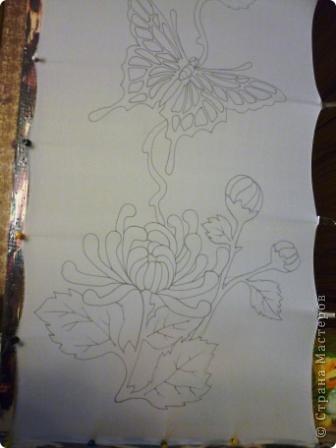 Яркие бабочки и нежные хризантемы на натуральном шёлке.АВТОРСКАЯ РАБОТА.Размер 200/40см.Подшит в ручную . Не линяет и не выгорает фото 2