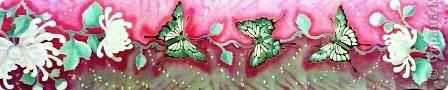 Яркие бабочки и нежные хризантемы на натуральном шёлке.АВТОРСКАЯ РАБОТА.Размер 200/40см.Подшит в ручную . Не линяет и не выгорает фото 11