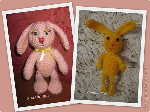 Два зайчика,розовый Сеня-моя первая игрушка вязаная,желтый-третья,между ними был вороненок. фото 1