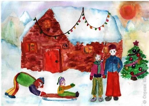 """Выполняли на дополнительных занятиях рисунки на зимнюю тему. Тощева Наташа, 13 лет выполнила """"Сельская улочка"""" фото 6"""