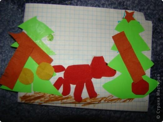 делали с дочкой открыточки на новый год- ее любимая собачка фото 1