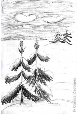 """Выполняли на дополнительных занятиях рисунки на зимнюю тему. Тощева Наташа, 13 лет выполнила """"Сельская улочка"""" фото 2"""