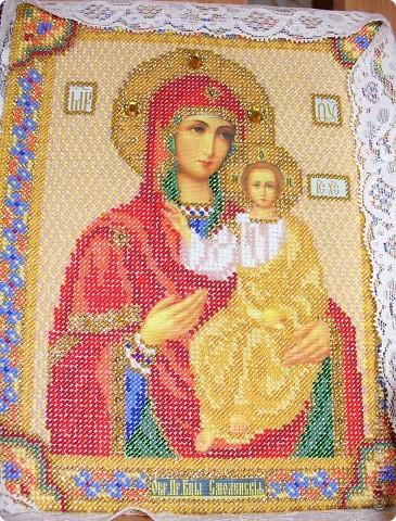 Икона Смоленской Божьей Матери, вышивка бисером фото 1
