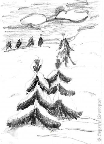 """Выполняли на дополнительных занятиях рисунки на зимнюю тему. Тощева Наташа, 13 лет выполнила """"Сельская улочка"""" фото 3"""