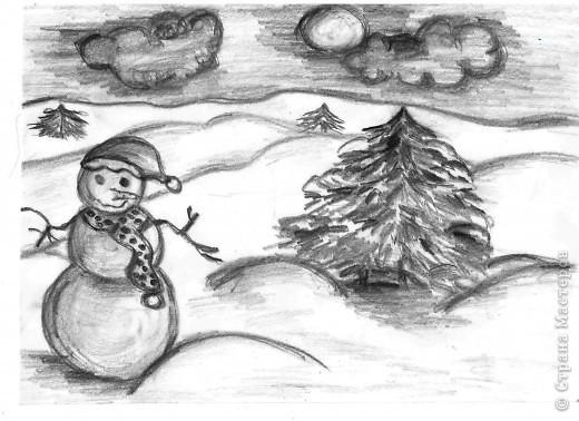 """Выполняли на дополнительных занятиях рисунки на зимнюю тему. Тощева Наташа, 13 лет выполнила """"Сельская улочка"""" фото 4"""