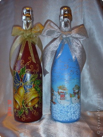 Продолжаю готовиться к празднику...... Лицевая сторона бутылочек. фото 1