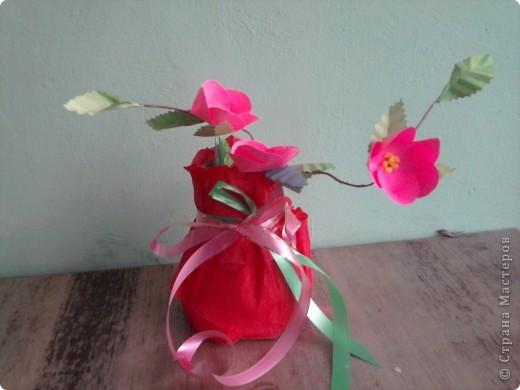 Для тебе. На створення вази використала баночку з-під кави і папір. Гілочку квітку побачила  в підручнику.  фото 1