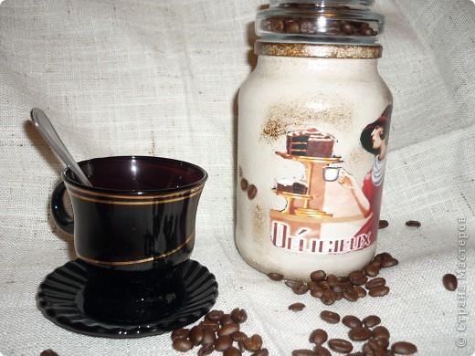 банка кофейная,распечатка,акриловые краски,битум,лак для саун, в крышку насыпала настоящие зерна фото 1