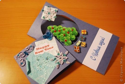 Первые опыты - вот такие получились новогодние открыточки... фото 1