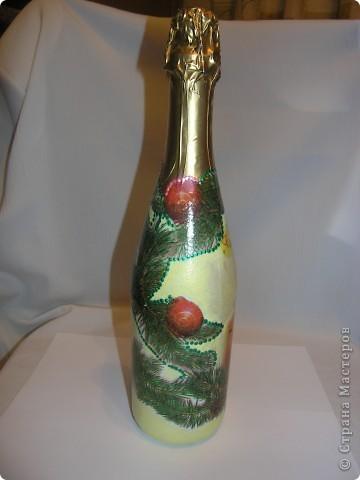 Ничего сверхнеобычного, просто еще одна моя победа над бутылкой. Училась пользоваться обьемными контурами. фото 2