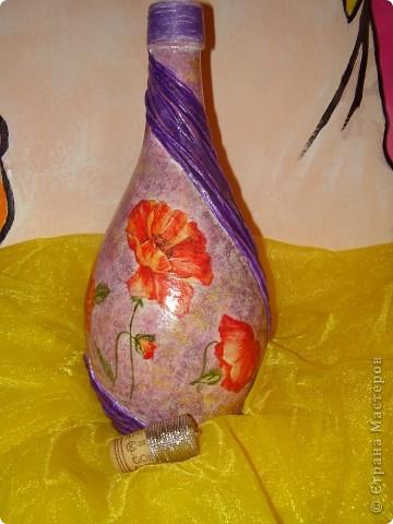 Вот такая бутылка была сделана на подарок для маминой сотрудницы фото 1