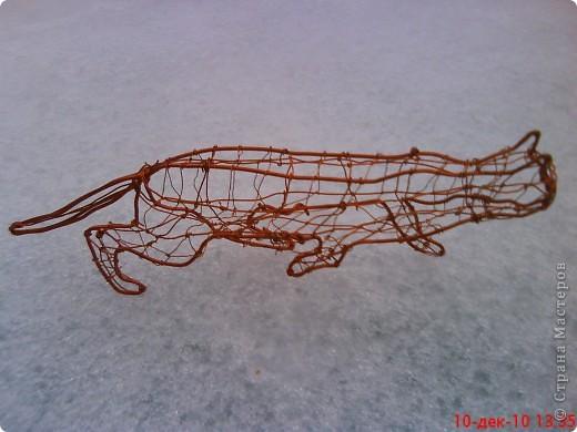 Технику плетения из проволоки разработал Пикулин Ю. В.  Он показал мне основные приемы работы.  Вот такая  кошка у меня получилась. фото 1
