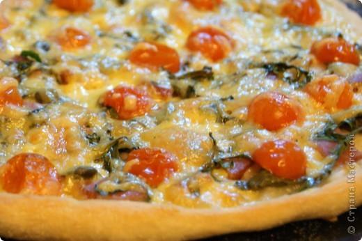 Продолжу травить вас своими рецептами. Во время отдыха в Хорватии в прошлом году мы как-то заказали очень удачную пиццу- далматинскую, со всякими местными вкусностями вроде пршута (вяленной ветчины), рукколы, черри.  В воскресение нечто подобное попробовала изобразить и у себя дома. Благо нечто похожее на пршут у меня было- папа привёз из Беларуси очень вкусное копчённое мясо. Без ложной скромности скажу, что получилось очень вкусно! Там более, что тесто я решила сделать настоящее, по итальянской технологии, а не привычное а-ля рюсс, из кефира или там сметаны с яйцами...