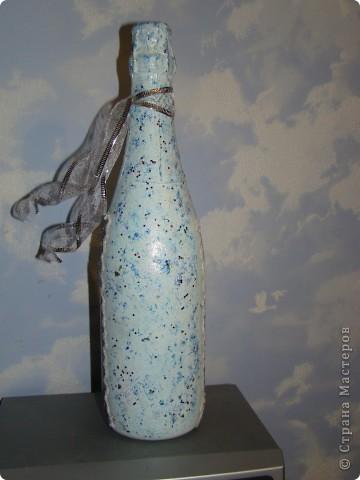 бутылка (краска акриловая, салфетки. лак. на зеленой: одношаговый кракелюр, блестки и хрустальная паста) фото 4