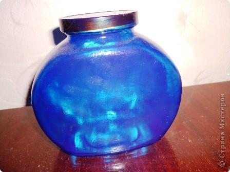 Материалы: Баночка стеклянная. Контуры по стеклу и керамике акриловые. Краска по керамике акриловая , синяя. Фантазия.  фото 2