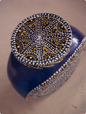 Материалы: Баночка стеклянная. Контуры по стеклу и керамике акриловые. Краска по керамике акриловая , синяя. Фантазия.  фото 6
